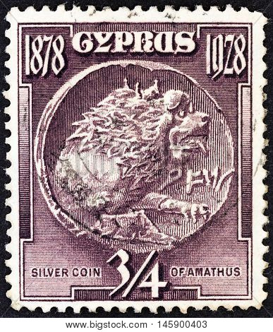 CYPRUS - CIRCA 1928: A stamp printed in Cyprus from the
