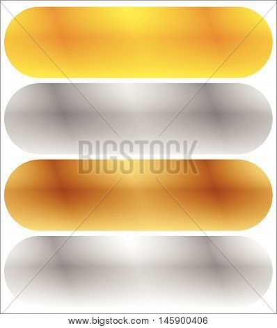 Gold, Silver, Bronze And Platinum Banners With Shade Effect. Blank Rectangle Metal Sheets, Plates