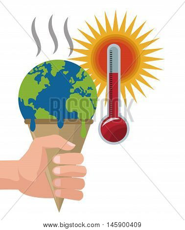 planet ice cream and thermometer icon. Global warming nature and environment design. Vector illustration