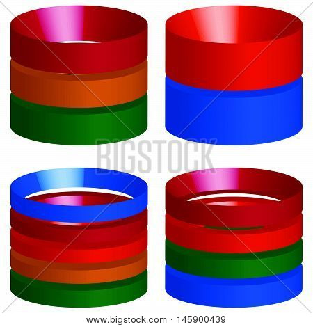 Multicolor Segmented 3D Cylinders, Cylinder Icons. Elements For Levels, Multilevel, Chart - Graph Us