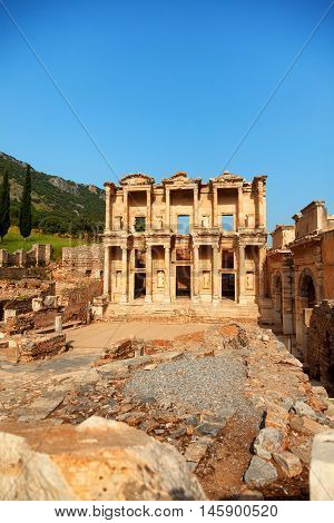 Library of Celsus in Ephesus Turkey. Vertical shot