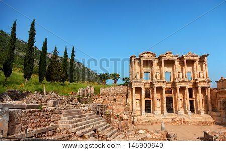 Library of Celsus in Ephesus Turkey. Wide angle view