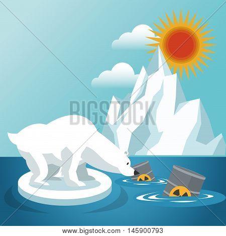 bear barrels and iceberg icon. Global warming nature and environment design. Vector illustration