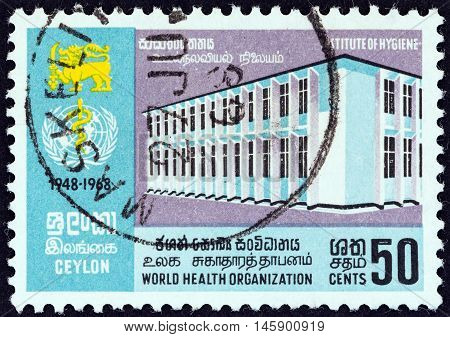 CEYLON - CIRCA 1968: A stamp printed in Ceylon issued for the 20th anniversary of World Health Organization shows Institute of Hygiene, circa 1968.
