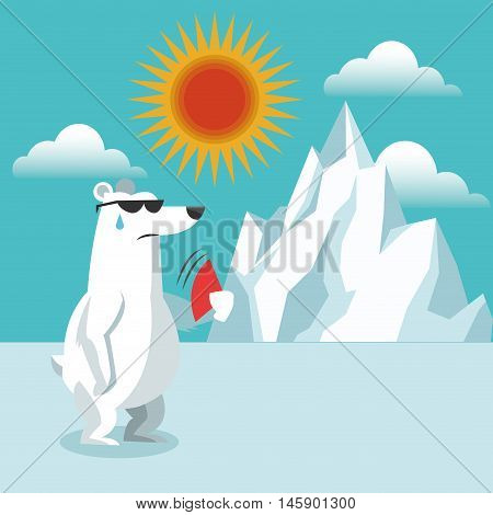 bear and iceberg icon. Global warming nature and environment design. Vector illustration