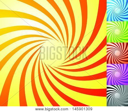 Spiral Starburst, Sunburst Background Set. Lines, Stripes With Twirl, Rotating Distortion Effect. 5