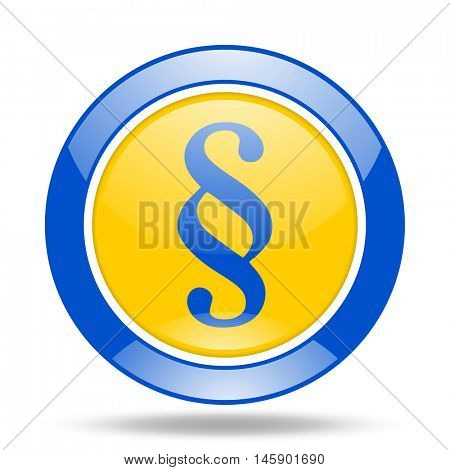 paragraph round glossy blue and yellow web icon