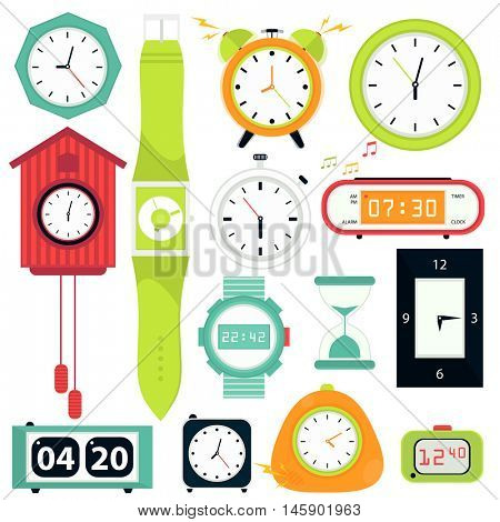 Vector set. Types of alarms clocks, digital watch and timer, stopwatch and hourglass. Symbol of time. Flat style illustrations isolated on white.