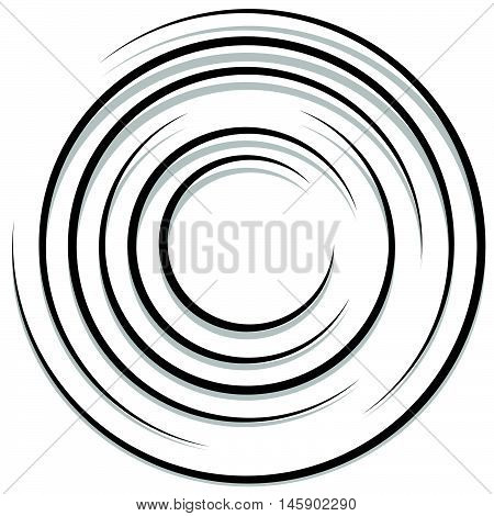 Concentric Random Circles With Dynamic Lines. Circular Spiral, Swirl Element