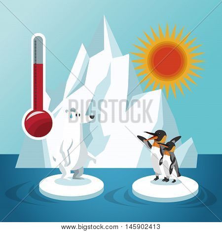 penguin thermometer and bear icon. Global warming nature and environment design. Vector illustration