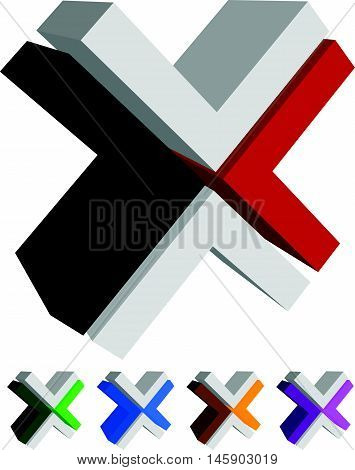 X, Cross Icon, Logo, Shape Design Element In Several Colors