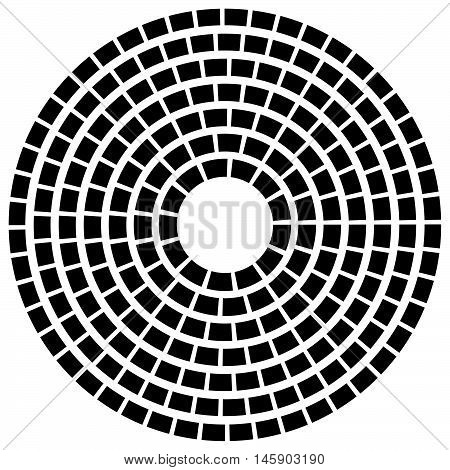 Concentric Dashed Line Circles - Abstract Geometric Element On White
