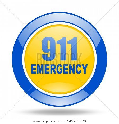 number emergency 911 round glossy blue and yellow web icon