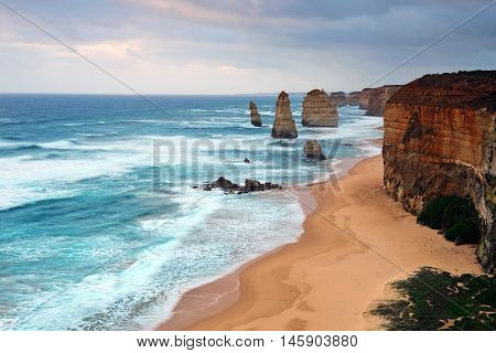Cloudy day in Twelve Apostles Sea rock in Port Campbell National park one of the most famous iconic natural landmark along Great Ocean Road i