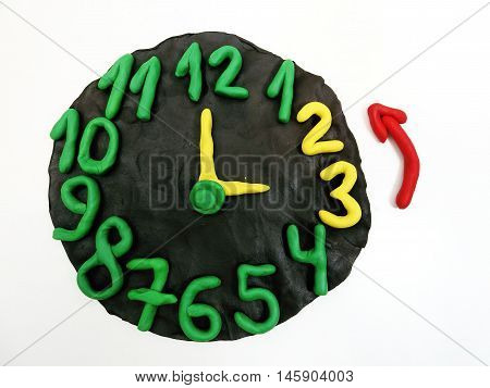Round clock from plasticine going to summer time