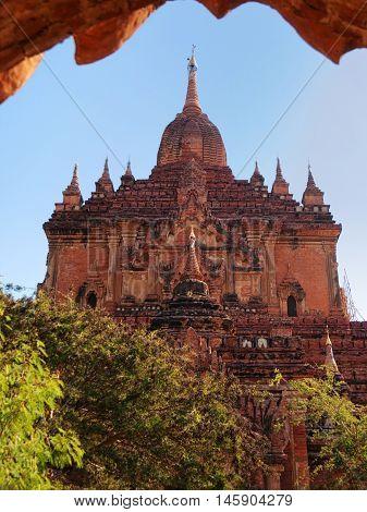 Outdoors view of Htilominlo Temple in Bagan Myanmar. Vertical shot