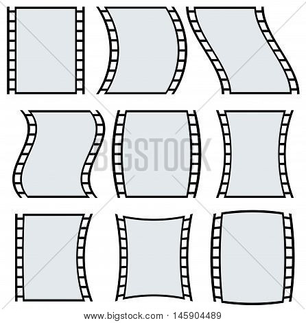 Film Strip Illustration For Photography Concepts. Set Of Several Elements.