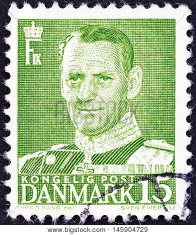 DENMARK - CIRCA 1948: A stamp printed in Denmark shows King Frederick IX, circa 1948.
