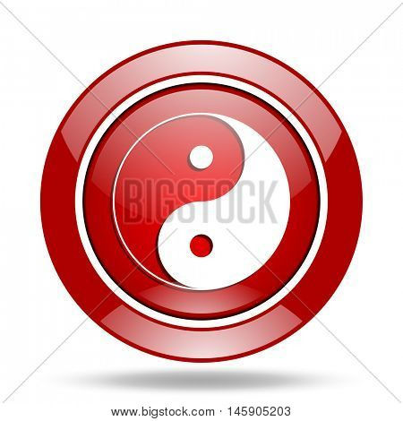 ying yang round glossy red web icon