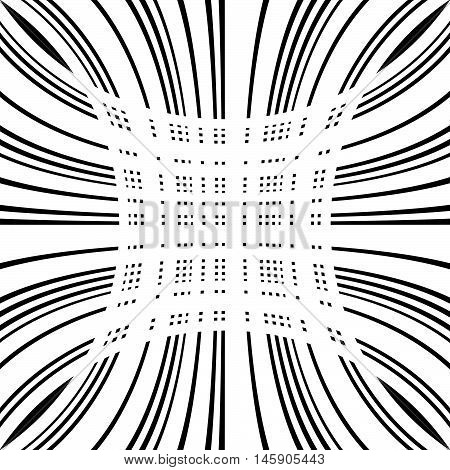 Grid, Mesh Of Distorted Lines. Geometric Monochrome Texture.