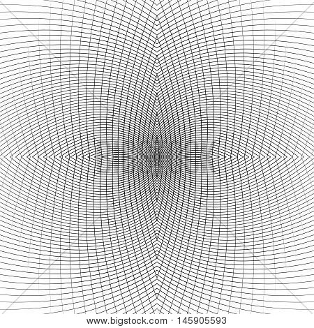 Grid Of Distorted Dynamic Lines. Repeatable. Curved Lines Geometric Monochrome Mesh. Reticulate, Cel