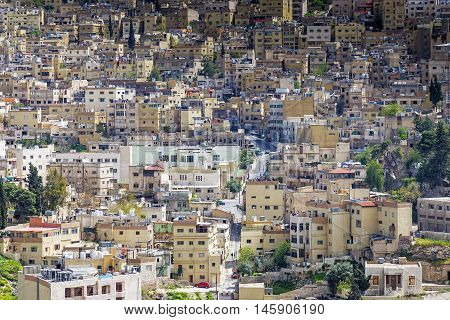 Amman, Jordan - April 03, 2015: Close up view of Al Yarmouk district in Amman. Amman is the capital and most populous city of Jordan and one of the oldest continuously inhabited cities in the world.