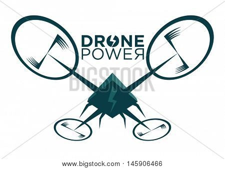 Vector illustration of stylized drone with lightning