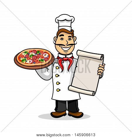 Pizzeria icon. Italian Chef in uniform and cooking cap holding menu card template and pizza. Vector emblem for restaurant signboard, menu, decoration
