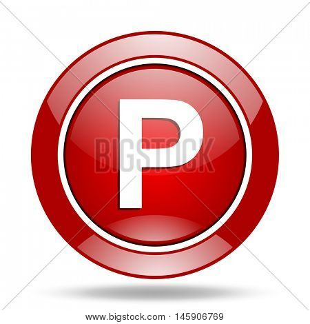 parking round glossy red web icon