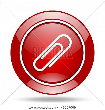 paperclip round glossy red web icon