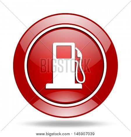 petrol round glossy red web icon