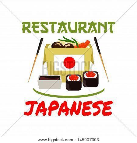 Japanese restaurant emblem. Sushi rolls, sauce, seafood, nori, chopsticks, japanese flag elements for cafe label, menu card, sticker, door signboard poster leaflet flyer