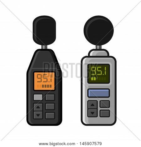 Sound Level Meter Set on White Background. Vector illustration