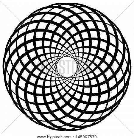 Circular Geometric Motif, Element, Concentric Circles Abstract Shape.