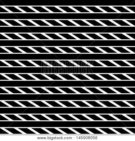 Geometric Seamless Monochrome Pattern With Parallelograms, Squares.