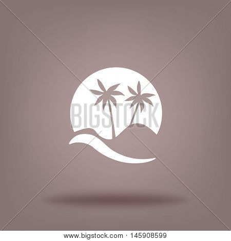 Flat icon. Palm trees in the background of a large sun. Holiday, vacation on the beach. Wave and palm.