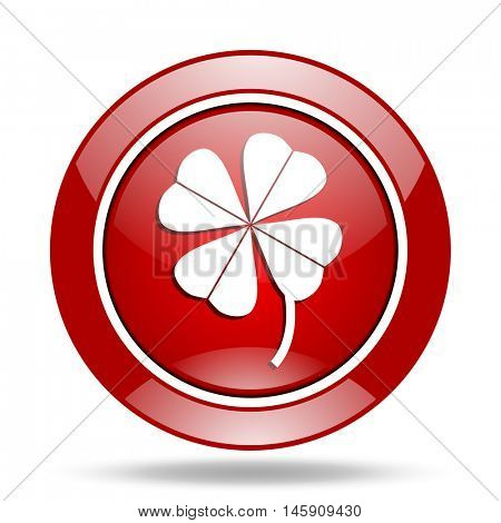 four-leaf clover round glossy red web icon