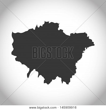 Silhouette of map icon. London england landmark and british theme. Isolated design. Vector illustration