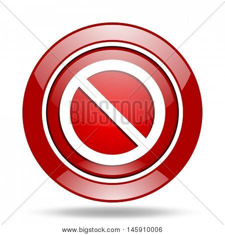access denied round glossy red web icon