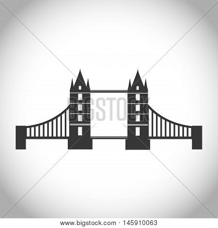 Silhouette of bridge icon. London england landmark and british theme. Isolated design. Vector illustration