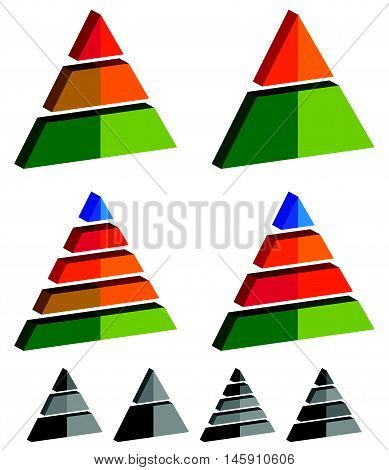 Pyramid, Cone, Triangle Charts, Graphs. 3-2-5-4 Level, Multilevel Infographics, Presentation Element