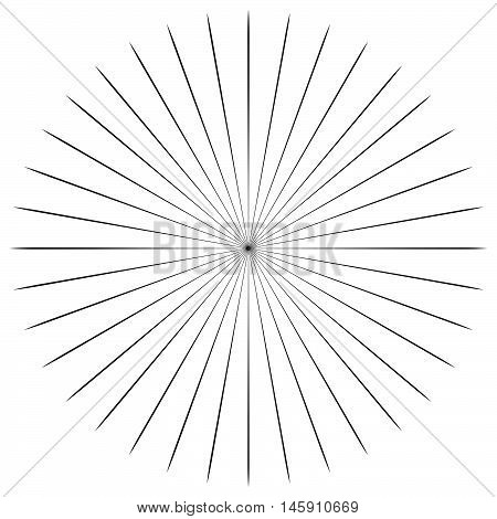 Circular Radial, Radiating Lines Element. Abstract Rays, Beams, Flash Effect