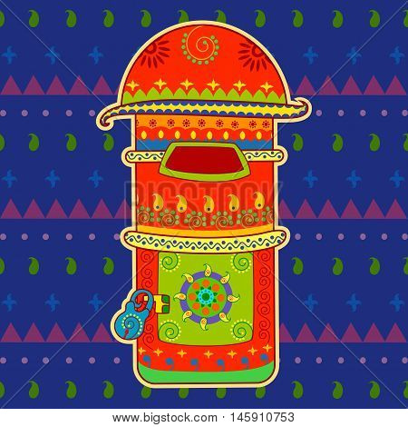 Vector design of post box in Indian art style