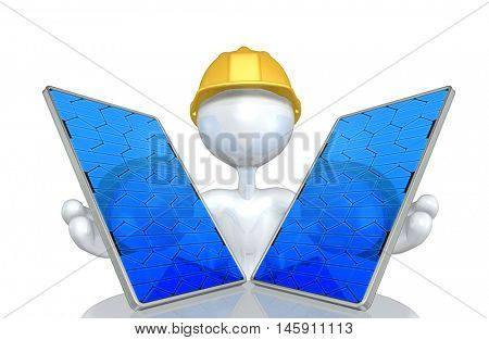Construction Worker Character With Solar Panel
