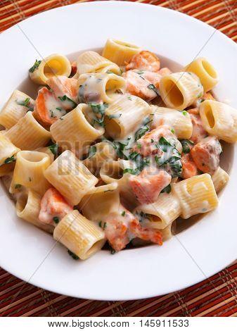 Italian rigatoni pasta with salmon and sour cream. Vertical shot