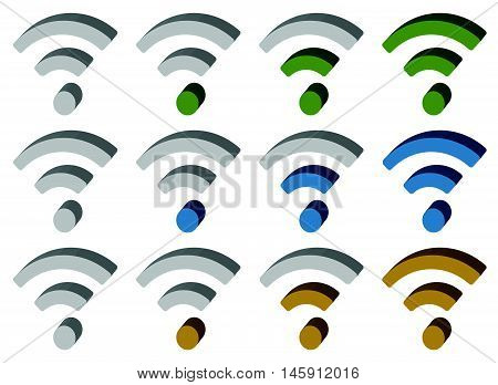 Signal (wireless Connection, Wifi, Wireless Internet) Signs, Symbols. Icons For Aerial, Cordless Com