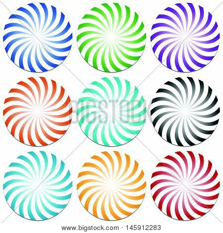 Spirally Lines Starburst Badges. Abstract Design Elements. 9 Color.