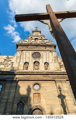 Conceptual photo Bernardine Church in Lviv. Ukraine. Religious themes.