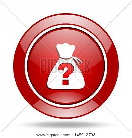 riddle round glossy red web icon