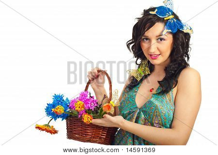 Nice Spring Girl With Fresh Flowers